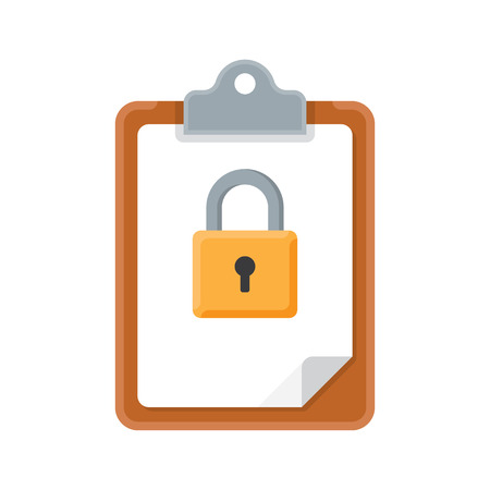 conformity: Clipboard with lock. Vector illustration, on a white background.