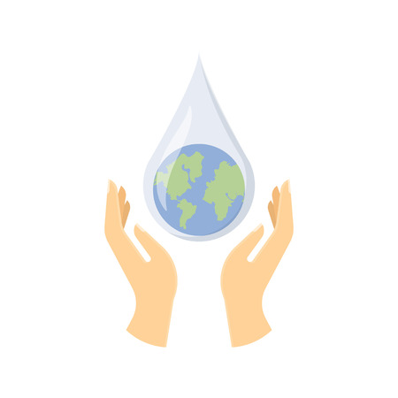 pure: Save water concept. Hands holding drop save water protect. Vector illustration.