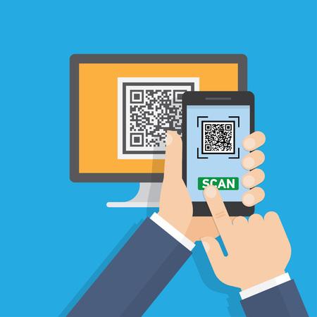Mobile app for scanning QR-code. Vector illustration.