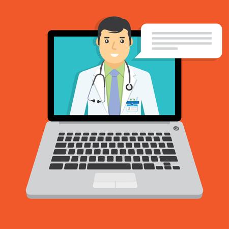 Online medical consultation and support. Online doctor. Vector illustration.