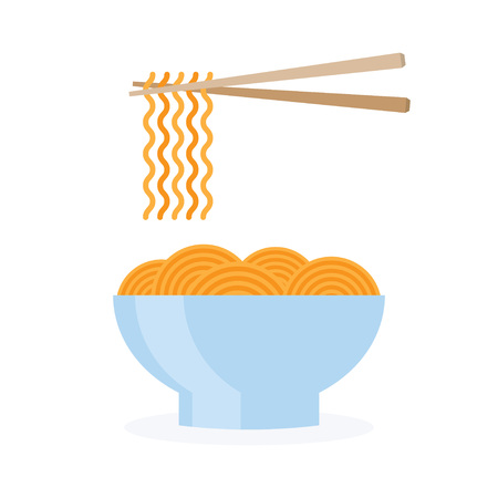 asia, noodle bowl fast food, icon. on a white background Vector illustration