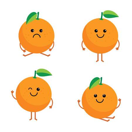 set cartoon oranges Ilustrace