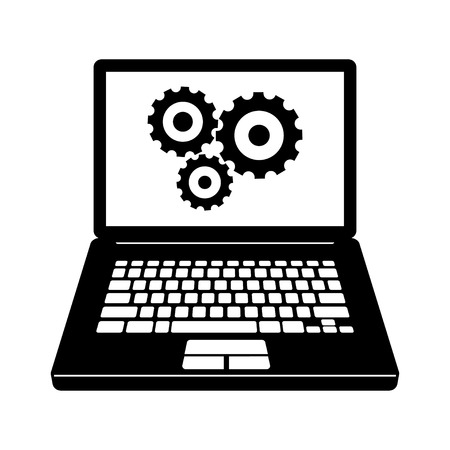 Laptop with gears icon