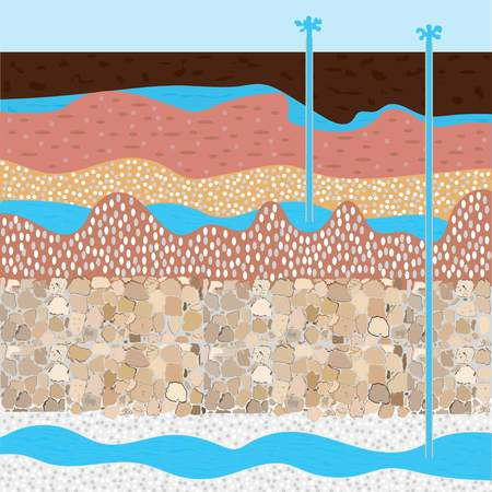 drilling rig andwater field, soil layers vector illustration, extraction of nature resources concept Vettoriali