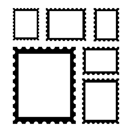 blank postage stamps, templates with place for your images. Vector Illustration Ilustrace