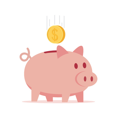 Piggy bank with coin in a flat style, vector illustration.