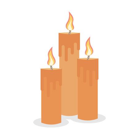 bougies allumées Set isolés sur un fond blanc. Vecteurs