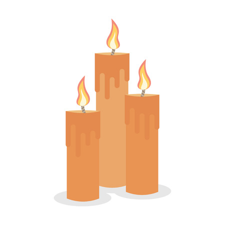 paraffin: Vector set burning candles isolated on a white background. Illustration