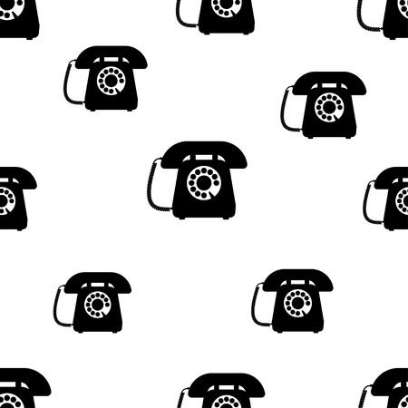 Telephone seamless pattern, black image on white background, vector illustration Vektorové ilustrace