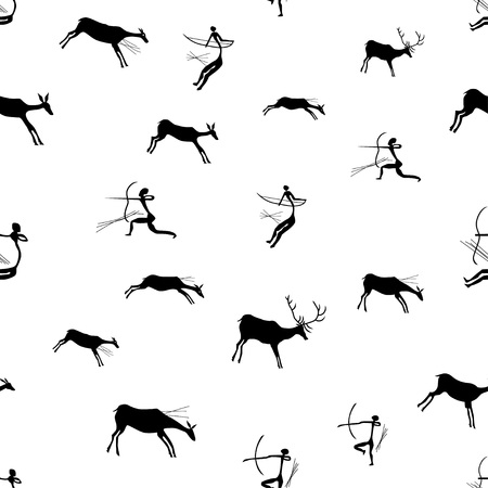 Rock paintings with Hunting scene, seamless pattern, vector illustration Иллюстрация