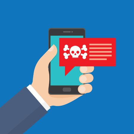 Smartphone in danger, red alert. Malware notification, fraud internet error message, insecure connection, online scam, virus