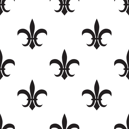 royal lily, Fleur de lis black pattern on white. Vector illustration Illustration