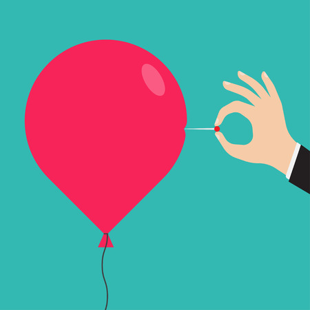 deflated: Man hand with a needle pierces the red balloon. Business concept. vector illustration Illustration