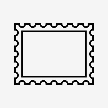 postzegel pictogram, op witte achtergrond. vector illustratie Stock Illustratie