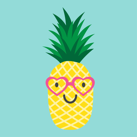 pineapple with glasses in the form of the heart, vector illustration