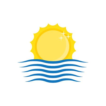 beach sunset: Logo. Sun and wave icon. Vector illustration