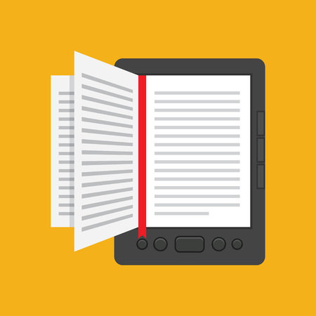 e magazine: e-book concept in flat design, Online Education and Library, vector illustration Illustration