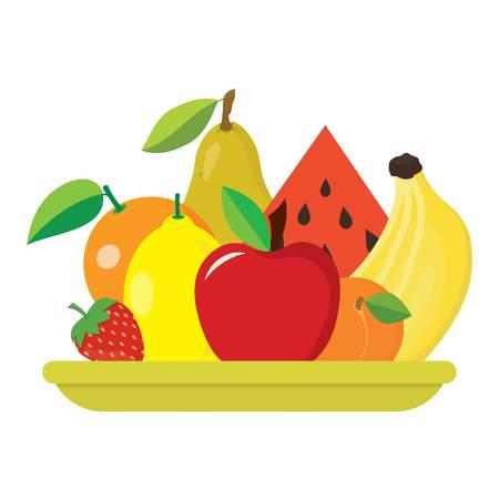 白い背景に、新鮮な果物 - スイカ、オレンジ、梨、りんご、バナナ、イチゴ、アプリコット、レモンと大皿に分離されたフルーツ サラダ プレート