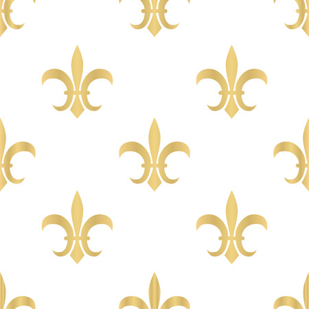 Royal pattern. Seamless golden pattern with Fleur de Lis. Vector illustration.