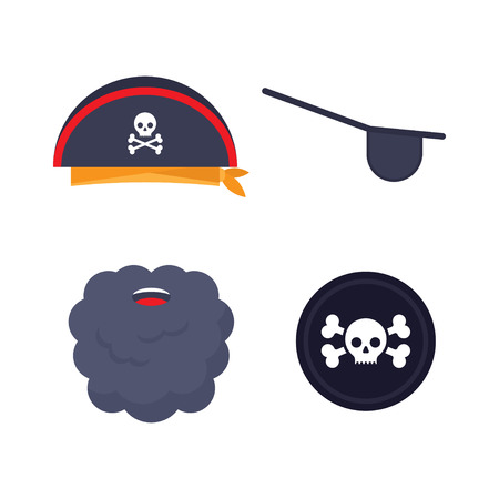 Set of pirate elements. Cocked hat, beard, eyecup Vector illustration