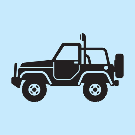 jeep: Off road vehicle, car for bad roads. Extreme Sports - 4x4 Sports Utility Vehicle SUV. Vector Illustration