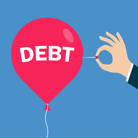 deflated: Man hand with a needle pierces the red balloon with an inscription debt. Business concept. vector illustration