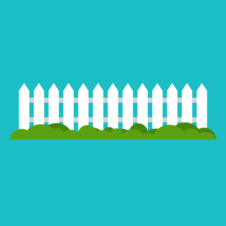 White wooden fence and green grass. Vector illustration.