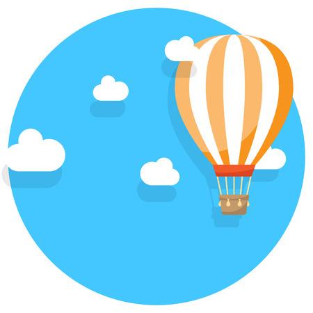 Hete luchtballon in de wolken vectorillustratie