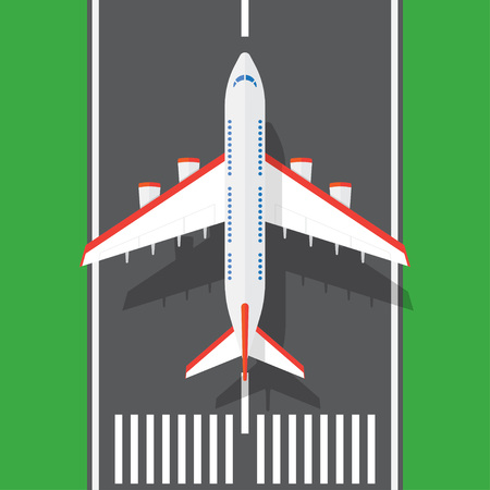 airplane on a runway in top view. Travel concept. Vector illustration