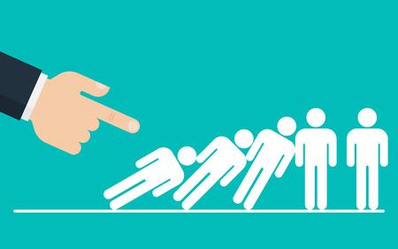 Efecto dominó. Gran mano está empujando hacia abajo a un grupo de empresarios. Concepto de efecto dominó corporativo. Ilustración de vector