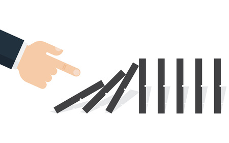 Hand pushing the domino. Domino effect. Vector illustration. Flat design