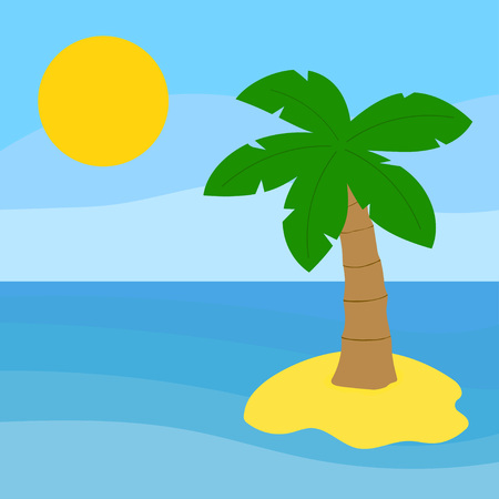 ocean Island with palm tree, desert island and sea, tropical beach landscape with palm trees and sun Illustration