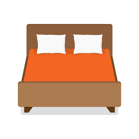 Double bed with pillow and blanket. vector illustration. isolated on white