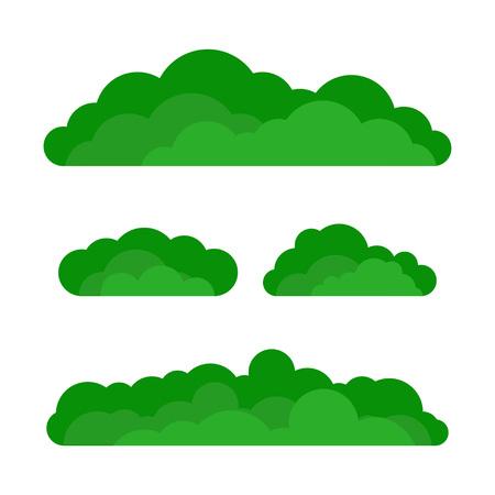 Set of cartoon green bushes. Vector illustration. Flat design