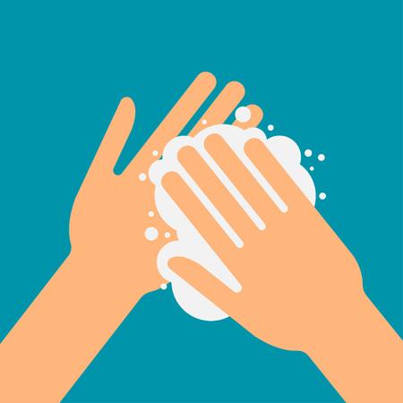Lavar por favor las manos, icono de la ilustración vectorial, la atención de la salud Foto de archivo - 85396084