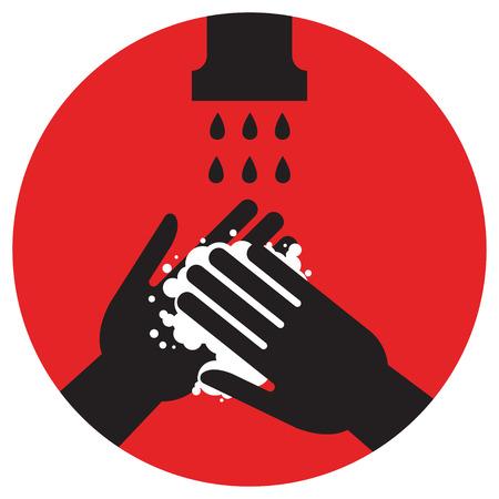 Bitte waschen Sie Ihre Hände, Vektor-Illustration-Symbol, Gesundheitswesen Standard-Bild - 86178326