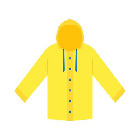 Yellow raincoat waterproof clothes. Flat design of rain coat clothing, vector illustration