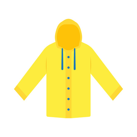 Yellow raincoat waterproof clothes. Flat design of rain coat clothing, vector illustration