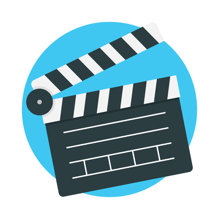 Clapperboard icon vector isolated on color background, Vector illustration flat design