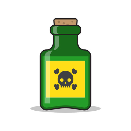 bane: Bottle of poison icon in flat style isolated