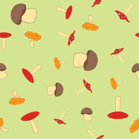 seamless pattern with forest mushrooms, collection of different mushrooms