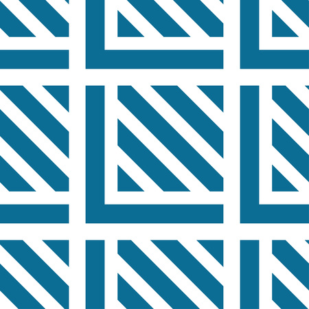 Seamless tile with blue white striped lines, squares and lines. Decorative element, geometric pattern in op art style. Vector Illustration Ilustração