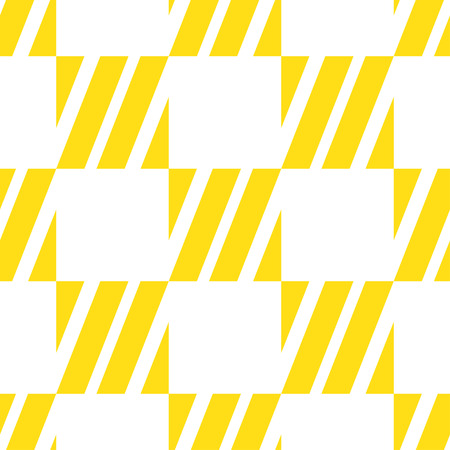 Seamless tile with yellow white striped lines, squares and lines. Decorative element, geometric pattern in op art style. Vector Illustration Ilustração