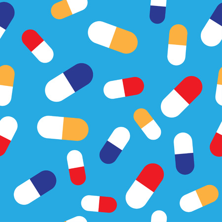 Seamless pattern with pills and capsules on blue background. Vector Illustration