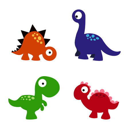 set of a colorful dinosaurs, funny cartoon dinosaurs collection