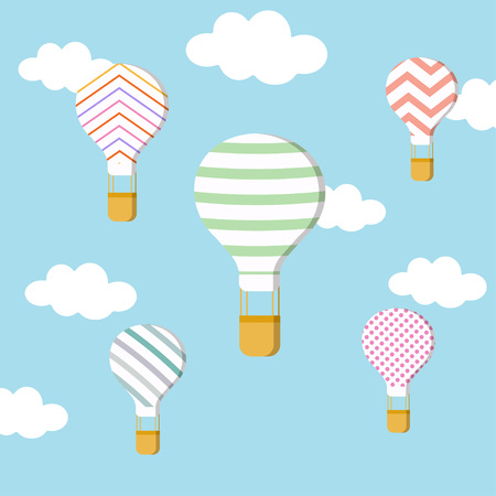 balloons and clouds in blue sky, hot air balloons on blue background, flat design Illustration