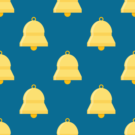 Bells ringing, seamless pattern on a blue background. Illustration