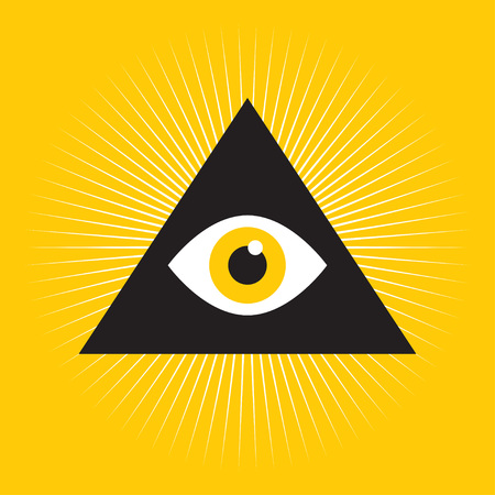 Eye Of Providence. Masonic symbol. Symbol Omniscience. All seeing eye inside triangle pyramid. vector illustration Ilustração