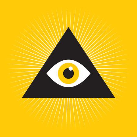 Oog van de Voorzienigheid. Vrijmetselaars symbool. Symbool alwetendheid. Alle wakend oog binnen driehoekspiramide. vectorillustratie