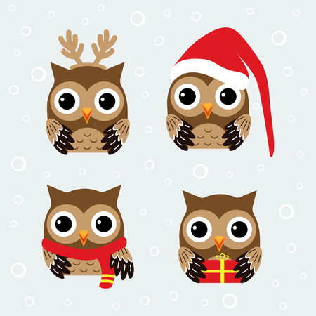 Christmas pattern with cute owls in hat, scarve and reindeer antlers, set with funny owls